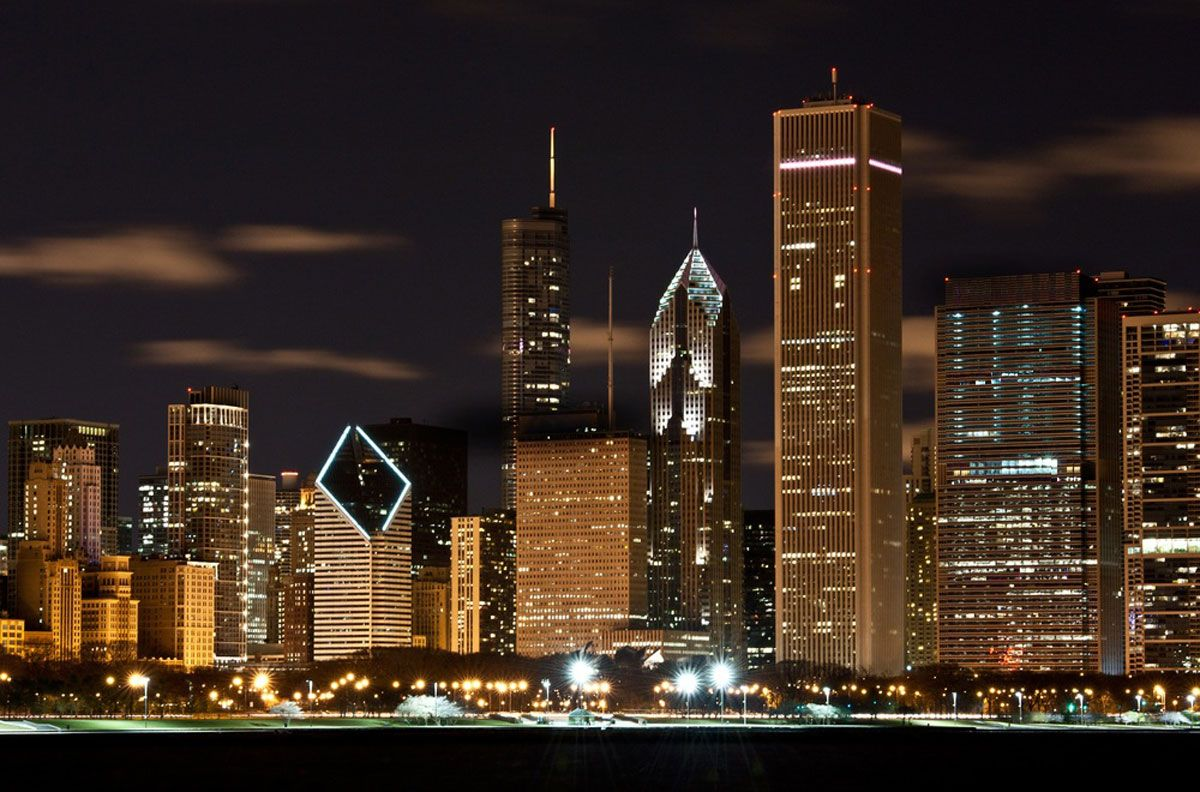 Chicago skyline at night from Lake Michigan