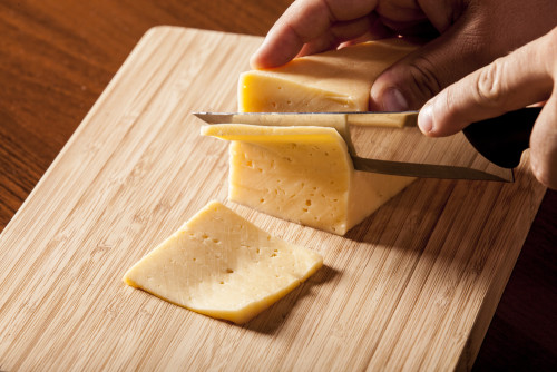 Cheese on a cutting board