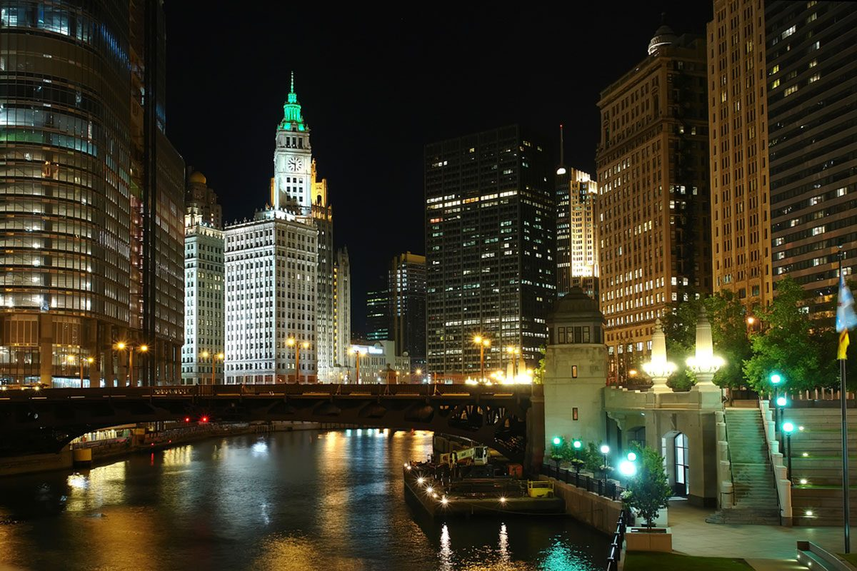 Wrigley Building at night from the Chicago River