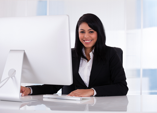 Happy female investment banking analyst