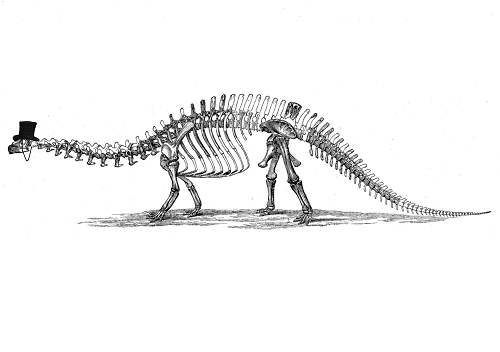 dinosaur skeleton with monacle