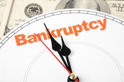 Bankruptcy clock striking midnight